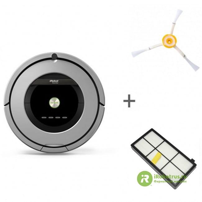 Робот-пылесос iRobot Roomba 886 + боковая щетка + сменный фильтр